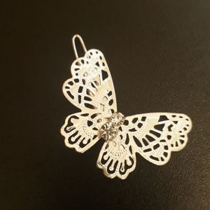 Butterfly Hair Clip Metal with Rhinestones